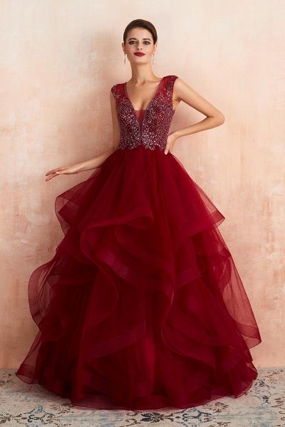 Wonderful V-neck Tulle A-line Prom Dress_2