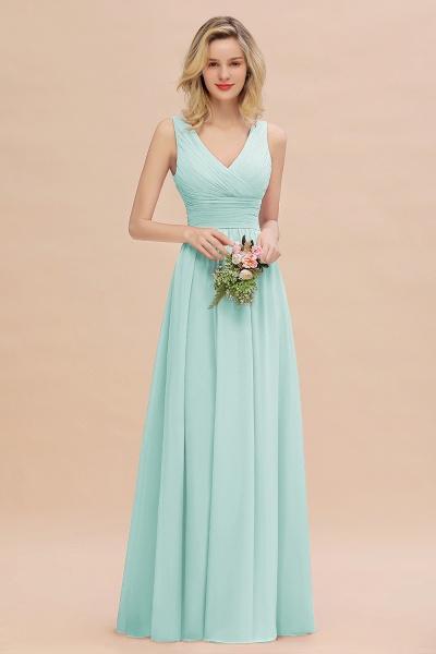 BM0752 Elegant A-line V-Neck Ruffles Long Bridesmaid Dress_36