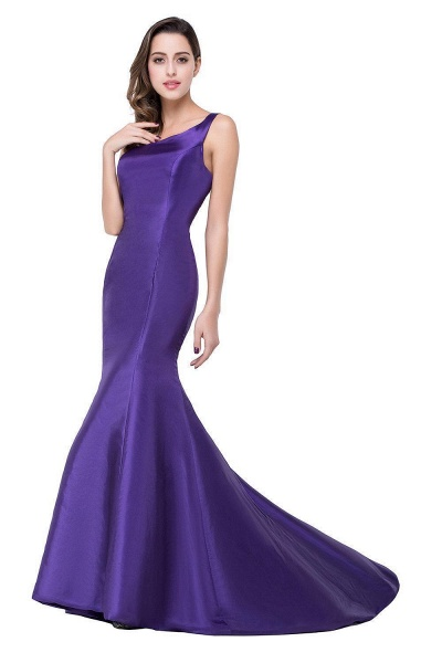 Elegant One Shoulder Satin Mermaid Evening Dress_3