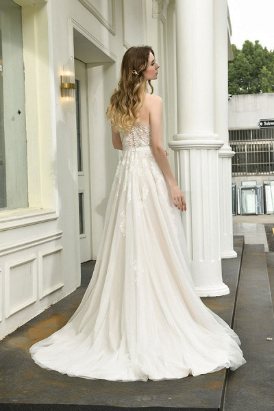 Chic One Shoulder Tulle Lace A-Line Wedding Dress_3