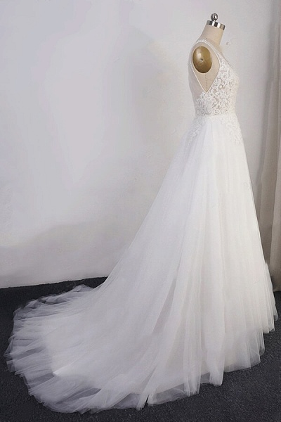 Open Back Appliques Tulle A-line Wedding Dress_5
