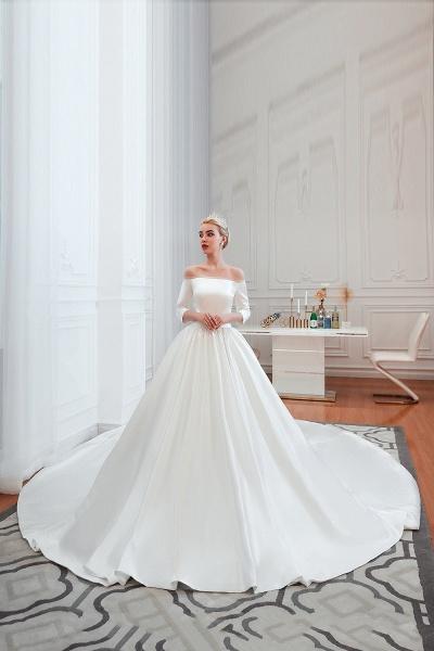 Off Shoulder Lace-up Satin A-line Wedding Dress_6