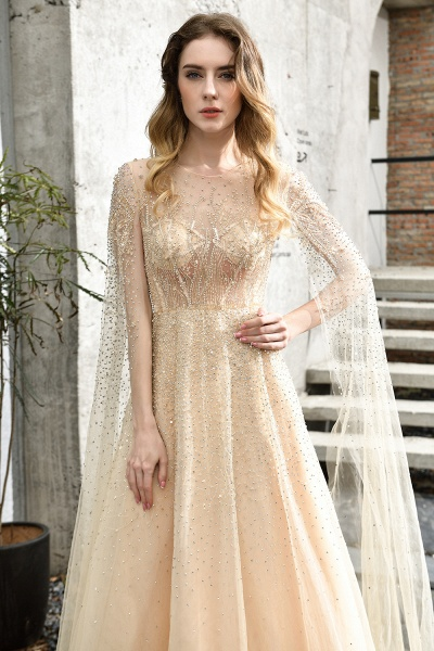 Luxury Shawl Sequined A-line Long Prom Dress_16