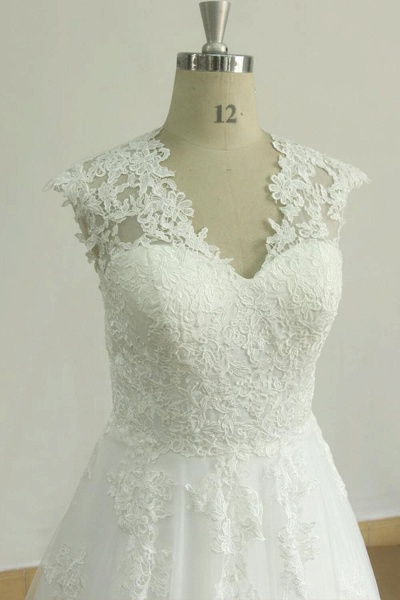Cap Sleeve Appliques Tulle A-line Wedding Dress_4