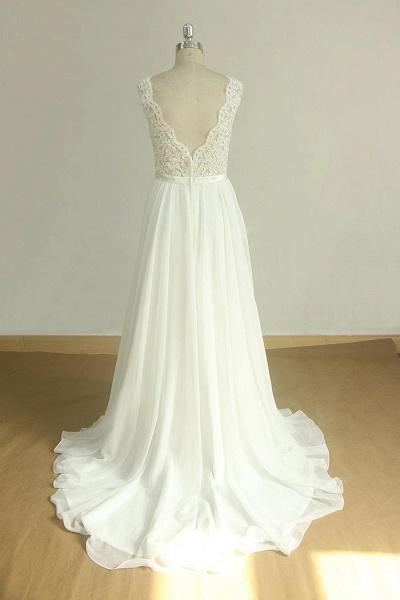 Affordable V-neck Lace Chiffon Wedding Dress_3