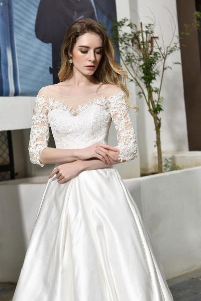 Elegant Lace-up A-Line Applique Satin Wedding Dress_11