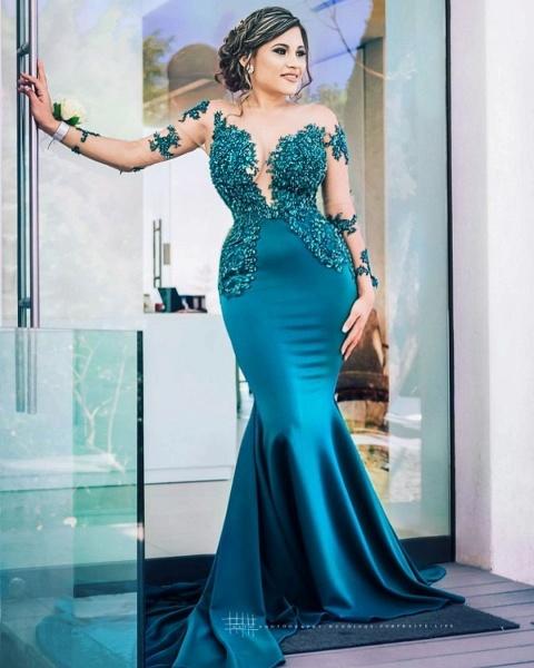 Latest Jewel Satin Mermaid Prom Dress_4