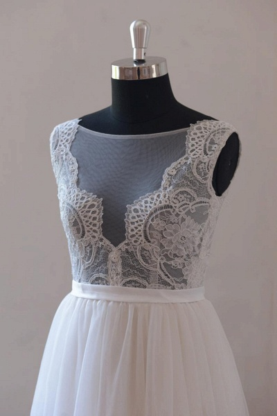 Chic Lace Floor Length Tulle A-line Wedding Dress_4