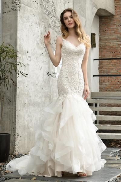Mermiad Sweetheart Floral Lace Floor Length Wedding Dress_1
