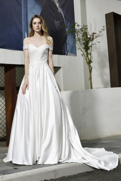 Off the Shoulder Appliques Satin Wedding Dress_1