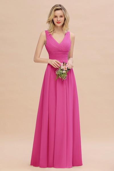 BM0752 Elegant A-line V-Neck Ruffles Long Bridesmaid Dress_9