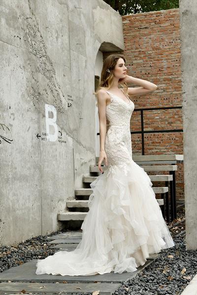 Gorgeous Appliques Mermaid Organza Wedding Dress_6