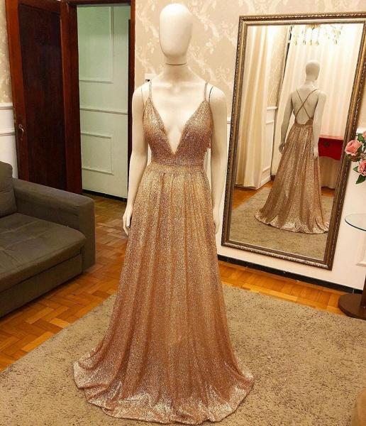 Affordable V-neck Sequined A-line Prom Dress_2