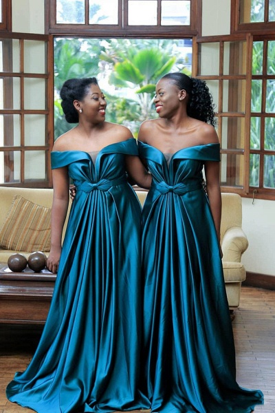 Eye-catching Off Shoulder A-line Bridesmaid Dress_3
