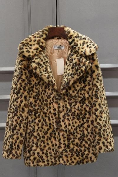 Women's Fall & Winter Leopard Daily Faux Fur Coat_2