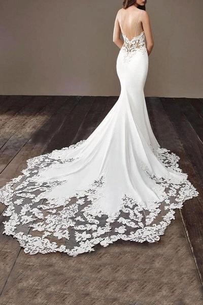 Precious Spaghetti Strap Lace Mermaid Wedding Dress_5