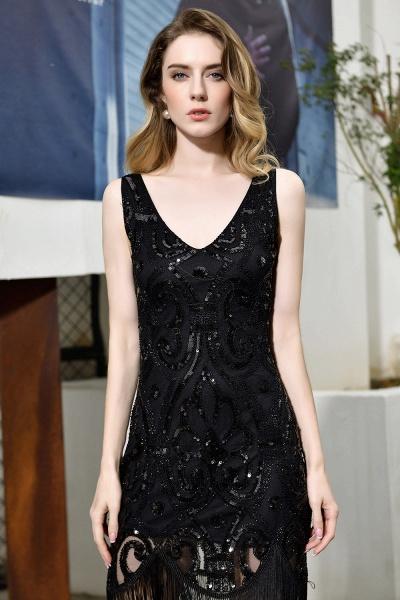 Chic Fringed Sequins V-neck Knee Length Prom Dress_11