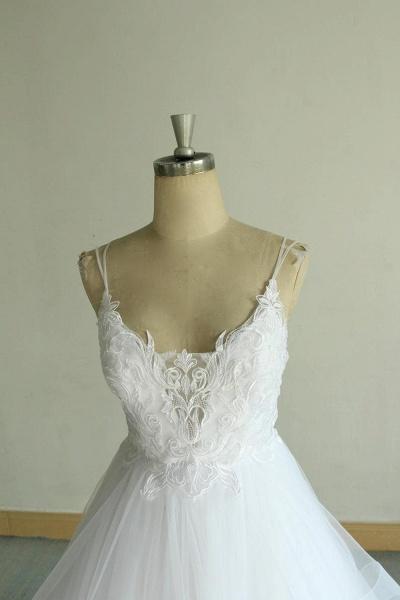 Chic Strap Spaghetti Appliques Tulle Wedding Dress_5