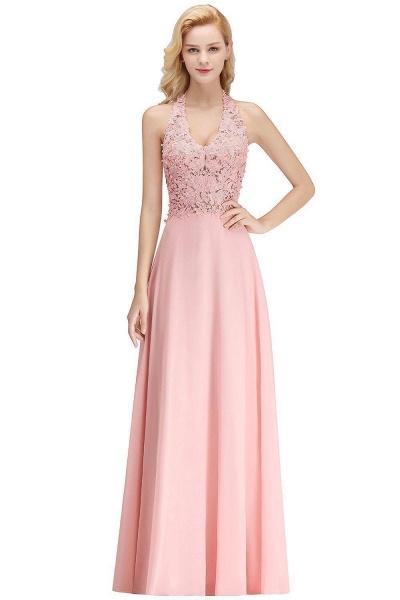 Halter Composite Emulation Silk A-line Floor Length Bridesmaid Dress_1