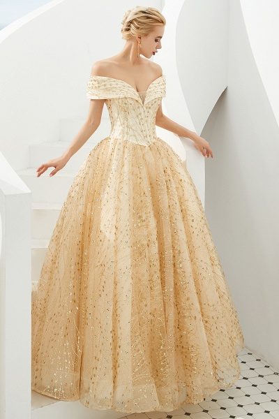 Attractive Off-the-shoulder Tulle Princess Prom Dress_6