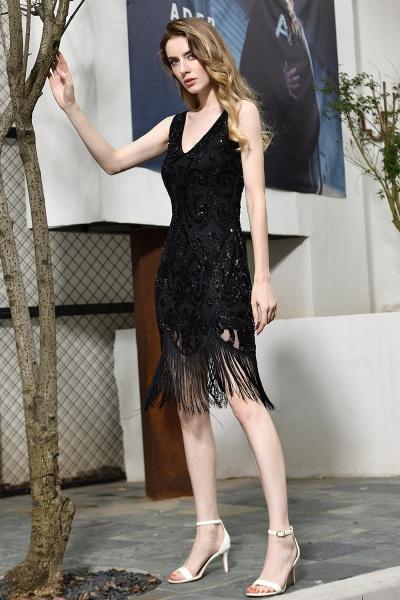 Chic Fringed Sequins V-neck Knee Length Prom Dress_5