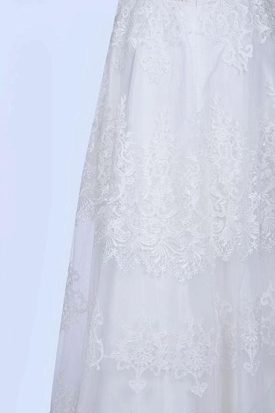 Best Cap Sleeve V-neck Sweep Train Wedding Dress_9