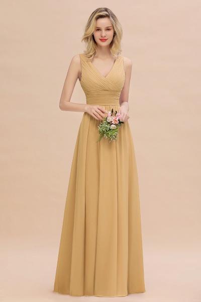 BM0752 Elegant A-line V-Neck Ruffles Long Bridesmaid Dress_13