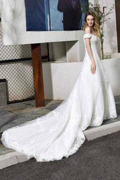 Gorgeous A-Line Lace Off Shoulder Wedding Dress_4