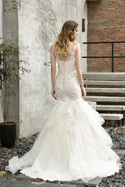 Mermiad Sweetheart Floral Lace Floor Length Wedding Dress_8