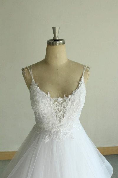 Chic Strap Spaghetti Appliques Tulle Wedding Dress_4