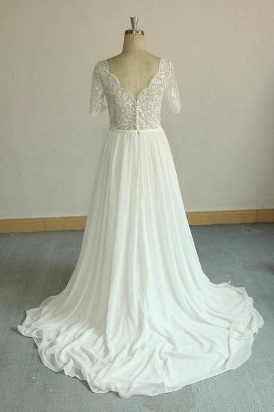 Short Sleeve V-neck Lace Chiffon Wedding Dress_3