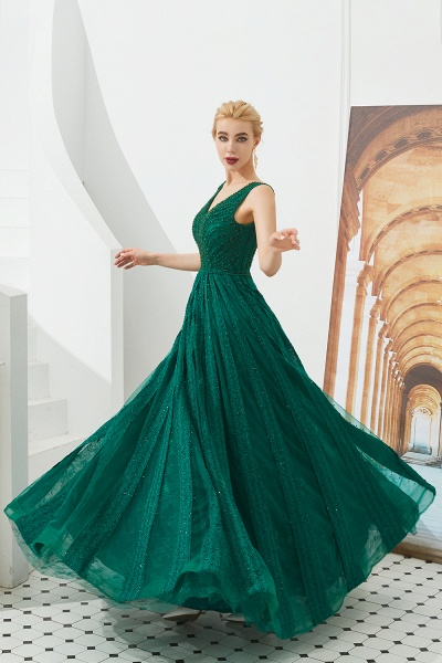 Awesome V-neck Tulle A-line Prom Dress_7