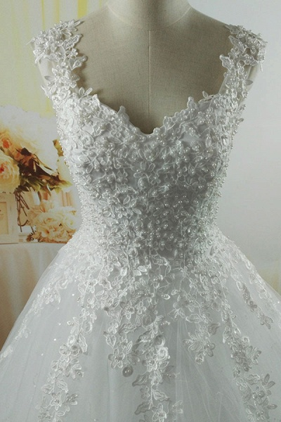 Lace-up Appliques Tulle A-line Wedding Dress_4