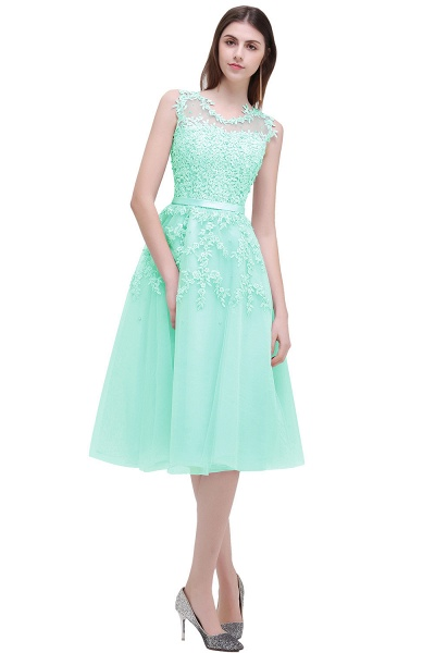 EMORY | A-Line Crew Tea Length Lace Appliques Short Prom Dresses_7