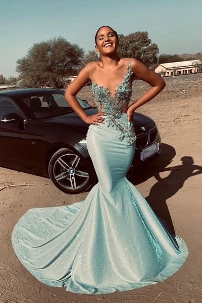 Jewel Sleeveless Sheer Appliques Sexy Mermaid Prom Dresses | Long Evening Dresses Cheap