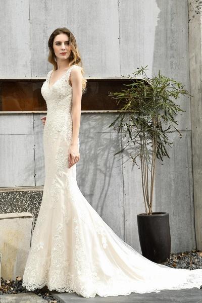 Straps Lace Backless Floor Length Wedding Dresses_8