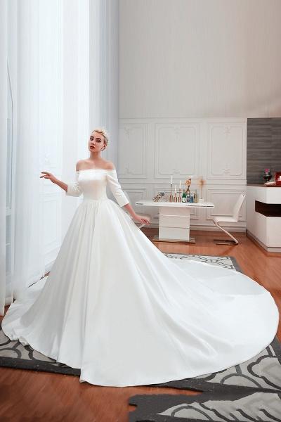 Off Shoulder Lace-up Satin A-line Wedding Dress_2