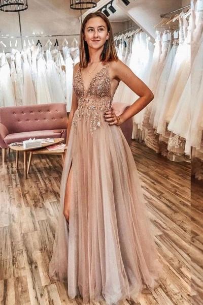 Best V-neck Tulle A-line Prom Dress_8