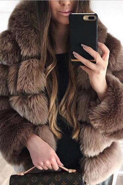 Women's Daily Winter Hooded Faux Fur Coat_7