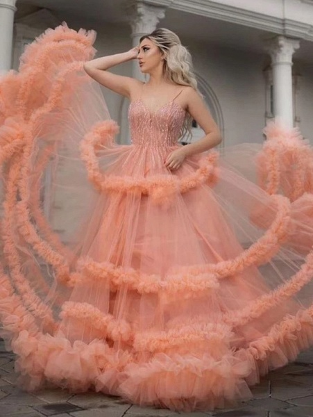 Affordable Spaghetti Straps Tulle A-line Evening Dress_2