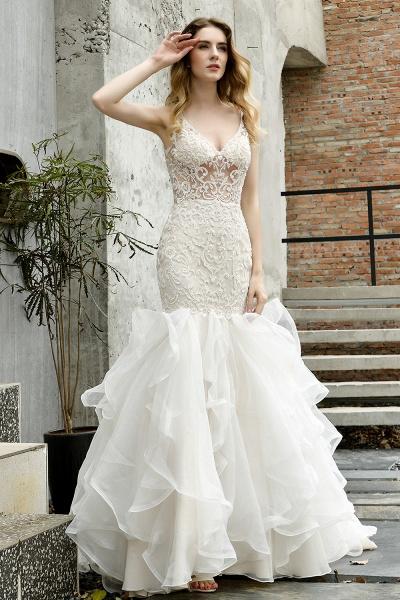 Mermaid V-neck Lace Organza Ruffles Wedding Dress_13