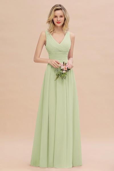 BM0752 Elegant A-line V-Neck Ruffles Long Bridesmaid Dress_35