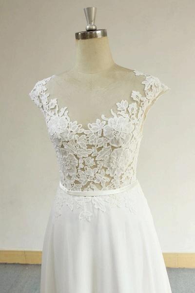 Cap Sleeve Appliques Chiffon A-line Wedding Dress_4