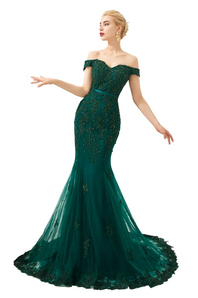 Elegant Off-the-shoulder Tulle Mermaid Prom Dress_1