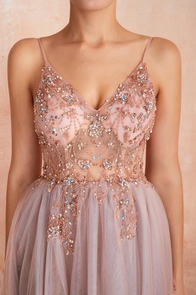 Best V-neck Tulle A-line Prom Dress_17