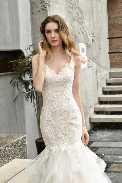 Mermiad Sweetheart Floral Lace Floor Length Wedding Dress_6