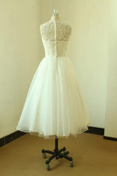 Elegent Lace Tulle A-line Mini Wedding Dress_3