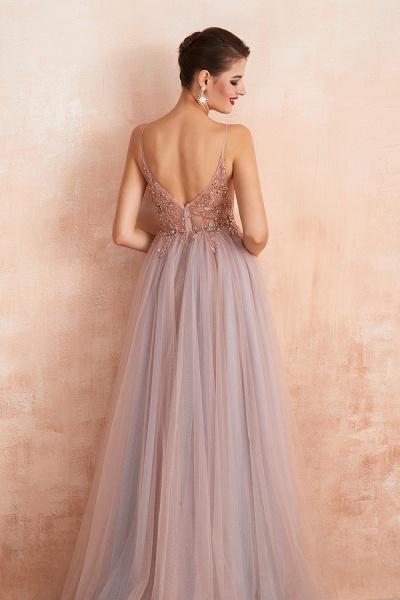 Best V-neck Tulle A-line Prom Dress_16