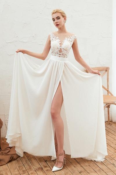 High Slit Appliques Chiffon A-line Wedding Dress_9