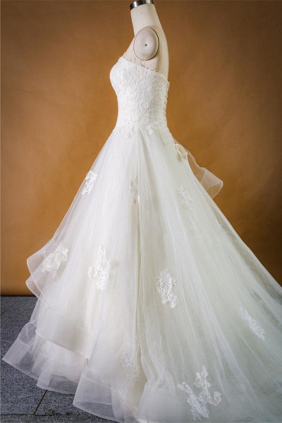 Strapless Lace-up Tulle A-line Wedding Dress_7